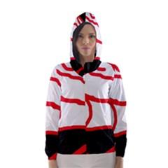 Red, black and white design Hooded Wind Breaker (Women)