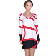 Red, black and white design Long Sleeve Nightdress