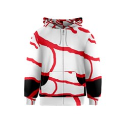 Red, black and white design Kids  Zipper Hoodie