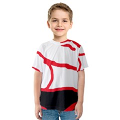 Red, black and white design Kid s Sport Mesh Tee