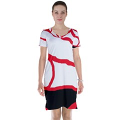 Red, black and white design Short Sleeve Nightdress