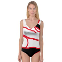 Red, black and white design Princess Tank Leotard