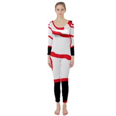 Red, black and white design Long Sleeve Catsuit