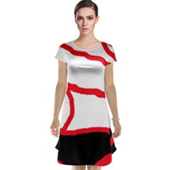 Red, black and white design Cap Sleeve Nightdress