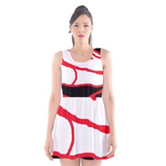 Red, black and white design Scoop Neck Skater Dress