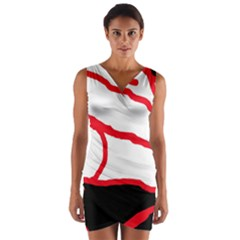 Red, Black And White Design Wrap Front Bodycon Dress