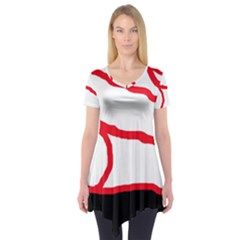 Red, black and white design Short Sleeve Tunic