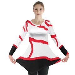 Red, black and white design Long Sleeve Tunic