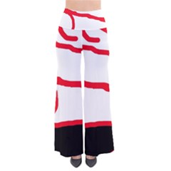 Red, black and white design Pants