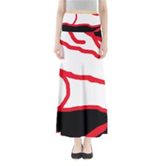 Red, black and white design Maxi Skirts