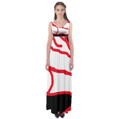 Red, black and white design Empire Waist Maxi Dress
