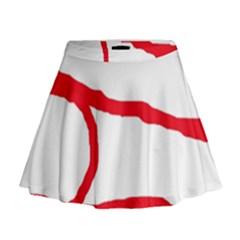 Red, black and white design Mini Flare Skirt