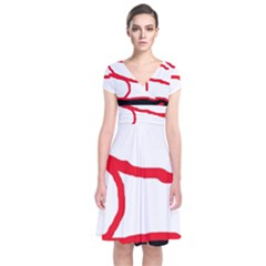 Red, black and white design Short Sleeve Front Wrap Dress