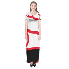 Red, black and white design Short Sleeve Maxi Dress