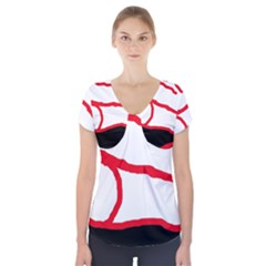 Red, Black And White Design Short Sleeve Front Detail Top
