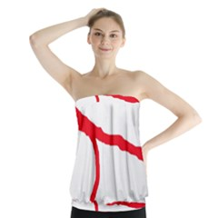 Red, Black And White Design Strapless Top