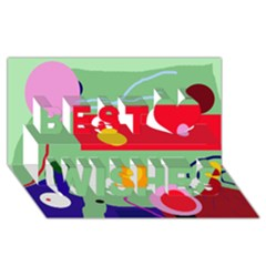 Optimistic abstraction Best Wish 3D Greeting Card (8x4)