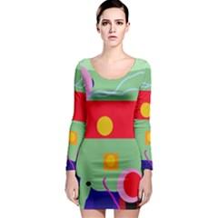 Optimistic abstraction Long Sleeve Bodycon Dress