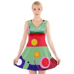 Optimistic abstraction V-Neck Sleeveless Skater Dress