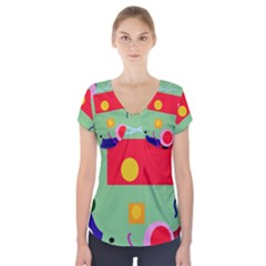 Optimistic abstraction Short Sleeve Front Detail Top