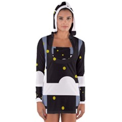 Abstract Design Women s Long Sleeve Hooded T Shirt