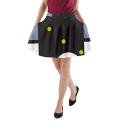 Abstract Design A Line Pocket Skirt
