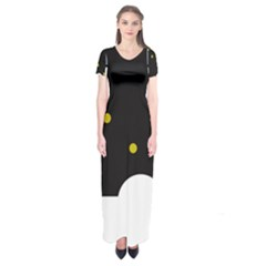 Abstract Design Short Sleeve Maxi Dress