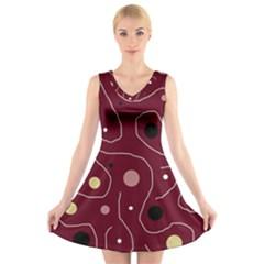 Elegant Design V Neck Sleeveless Skater Dress