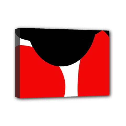 Red, black and white Mini Canvas 7  x 5