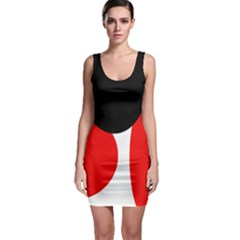 Red, black and white Sleeveless Bodycon Dress