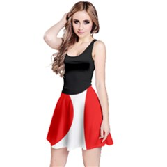 Red, black and white Reversible Sleeveless Dress