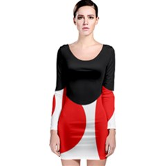 Red, black and white Long Sleeve Bodycon Dress