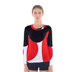 Red, black and white Women s Long Sleeve Tee