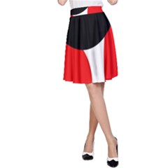 Red, black and white A-Line Skirt
