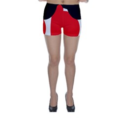 Red, black and white Skinny Shorts