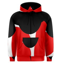 Red, black and white Men s Zipper Hoodie