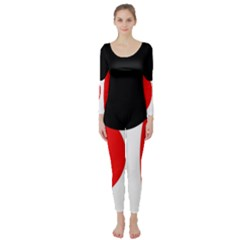 Red, black and white Long Sleeve Catsuit
