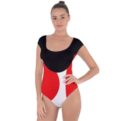 Red, black and white Short Sleeve Leotard