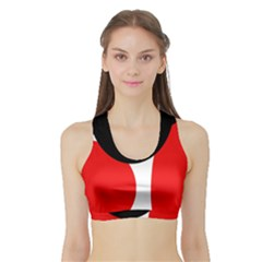 Red, black and white Sports Bra with Border