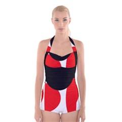 Red, Black And White Boyleg Halter Swimsuit
