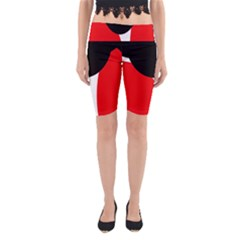 Red, black and white Yoga Cropped Leggings