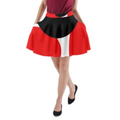 Red, black and white A-Line Pocket Skirt