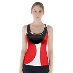 Red, Black And White Racer Back Sports Top