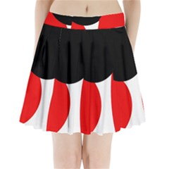 Red, black and white Pleated Mini Mesh Skirt