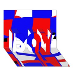 Blue, red, white design  BOY 3D Greeting Card (7x5)
