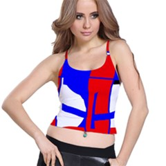 Blue, red, white design  Spaghetti Strap Bra Top