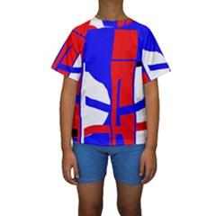 Blue, Red, White Design  Kid s Short Sleeve Swimwear