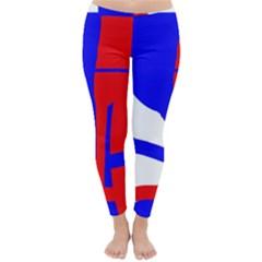 Blue, red, white design  Winter Leggings