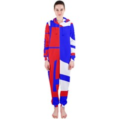 Blue, red, white design  Hooded Jumpsuit (Ladies)