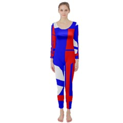 Blue, red, white design  Long Sleeve Catsuit